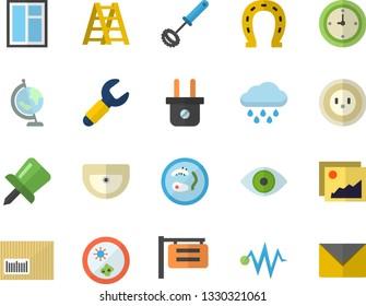 Color flat icon set window flat vector, ladder, sink, whisk, horseshoe, rain, socket, plug, wrench, signboard, barcode, eye, drawing pin, clock, globe, Petri dish, electric discharge fector, gallery