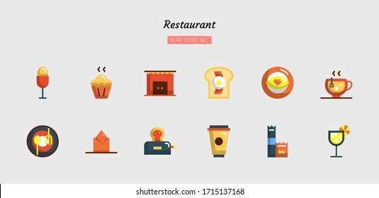 color flat icon symbol set, restaurant concept, food, drink, Isolated vector design