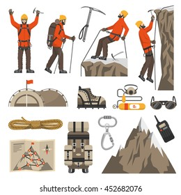 Color flat icons set of climbing hiking mountaineering equipments vector illustration