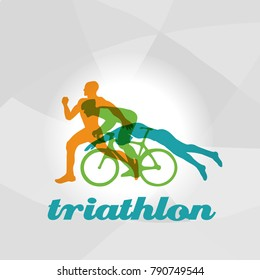 Color flat logo triathlon. Vector figures triathletes