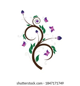 Color Floral design element victor graphics with flowers and butterflies