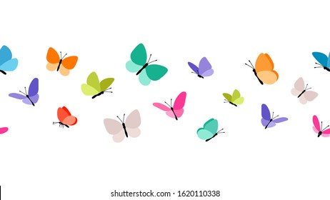 Color flying butterflies seamless pattern. Beautiful insects isolated on white background. Spring summer seasons butterfly vector border design