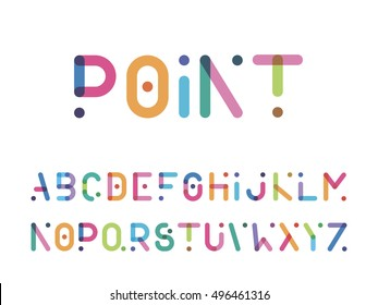 color font with a point capital letters
