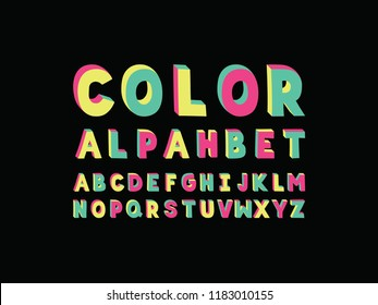 Color font. Vector alphabet letters. Typeface design.