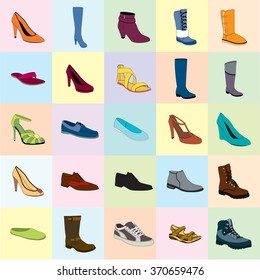 5b9d94063a998 Girls Shoes Set Collection Fashion Footwear Stock Vector (Royalty ...