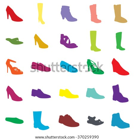 ada0c5ccf0ed Color Footwear Set Silhouettes Ankle Boot Stock Vector (Royalty Free ...