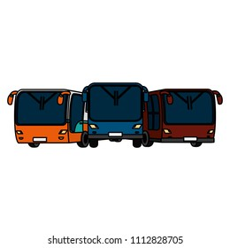color front busses transport cities travel