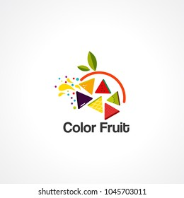 color fruit logo vector, icon, element for business