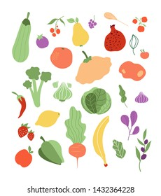 Color fruits vegetables. Onion lemon banana cabbage pepper apple squash. Vegan healthy organic food delicious vegetable fruit vectors. Cabbage and zucchini, fruit and pomegranate illustration