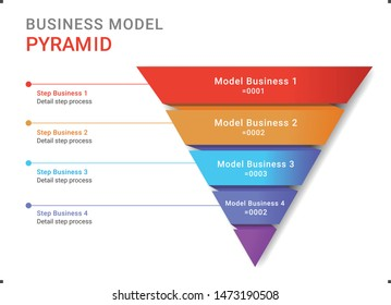 Color full pyramid business model infographic design illustration vector