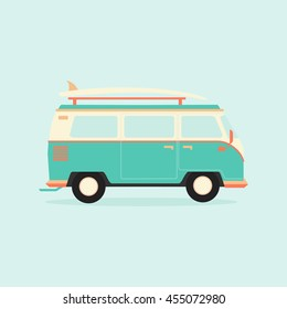 Color full Surfer van. Transportation and surfing, sport board, vector illustration