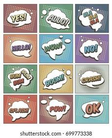 Color Funny cartoon superhero elements:  crash,  boom,  pow, hello, wow, splash, allo, bum, ok, bla, yes, no.