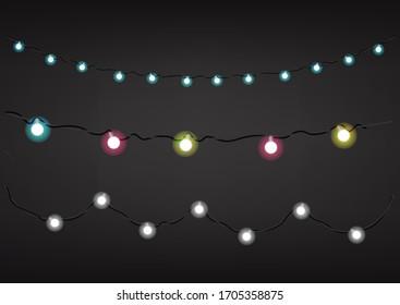 Color garlands on dark background. Vector clipart