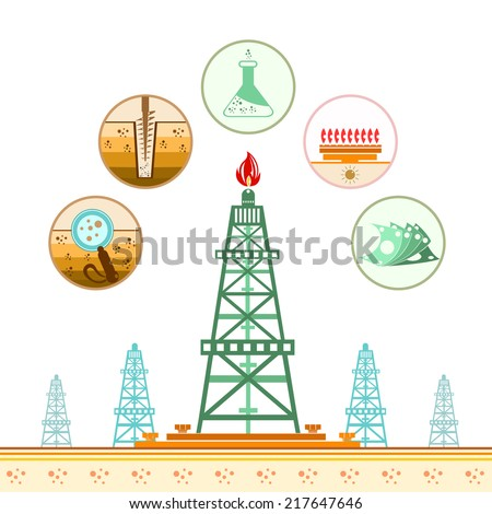 color gas rig circle icons stages stock vector royalty free