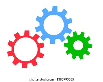 Color gears industrial wheel vector icon