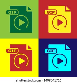 Color GIF file document. Download gif button icon isolated on color background. GIF file symbol.  Vector Illustration