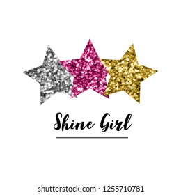 color glitter star black text line baby girl tee illustration art vector
