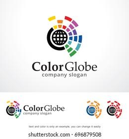 Color Globe Logo Template Design Vector, Emblem, Design Concept, Creative Symbol, Icon