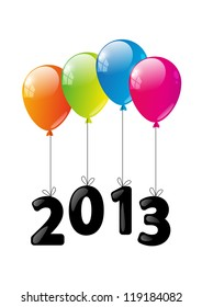 Color glossy balloon with numbers 2013 - New Year concept