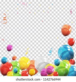 Color Glossy Balloons and Confetti on Transparent Checked Background Vector Illustration eps10