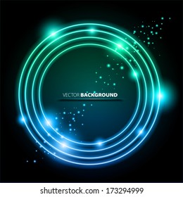 Color glowing circle frame with sparkles - Vector eps 10