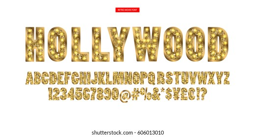 Color Golden alphabet with show lamps. Vector illustration. You can use it for web-pages and banners, poster, cards and other.