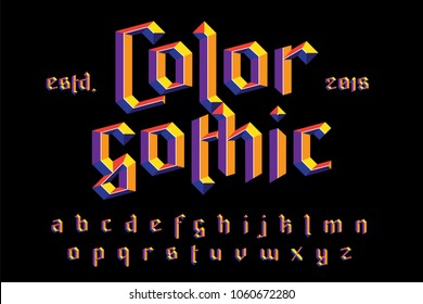 Color gothic alphabet. Bright modern 3D effect letters. For best logo, slogan, fachion and package design. Vector illustration