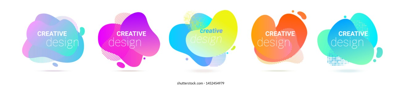 Color gradient abstract liquid shape, vector halftone pattern background. Fluid color splash gradient overlap halftone graphic background