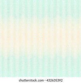 Color gradient background with waves. The protective layer for banknotes, diplomas and certificates. Security Papers ground. Guilloche seamless background