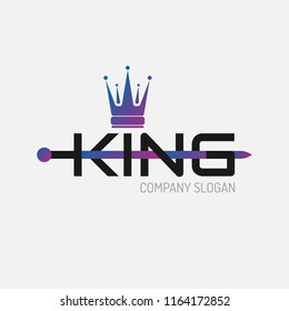 Color gradient flat icon King crown silhouette with sword and text. Vector minimal illustration of identity logo for shop, app store, elegant boutique, sign for beauty saloon or emblem for fitness