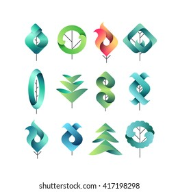 Color gradient geometrical leaves, trees, set of isolated symbols, logos, vector design eco and botanical elements.