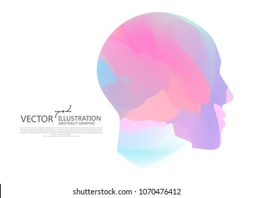 The color of the gradient is mixed into the shape of the male head, vector illustration.