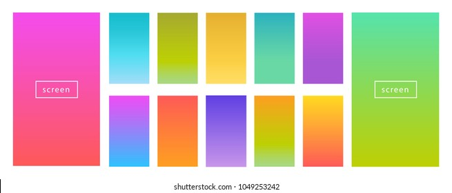 Color gradient modern background set. Screen vector design for mobile app. Spring, fresh soft color abstract gradients.