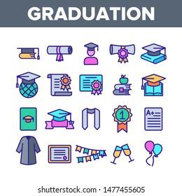 Color Graduation Thin Line Icons Set Vector. Certificate And Diploma, School, College Or University Graduation Elements Linear Pictograms. Academic Details Contour Illustrations