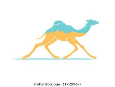 Color graphic drawing of silhouette of running arabic camel, dromedary, inside is yellow Sahara desert, pyramids, palms and sky. Vector illustration, tourism, travel, Egypt, isolated on background.