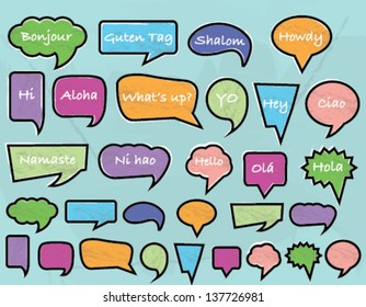 Color Greetings Speech Bubbles with Blue Background