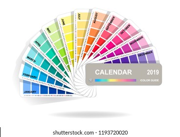 Color guide calendar 2019. Colorful charts samples isolated on white background. Rainbow paper hand fan. Vector illustration