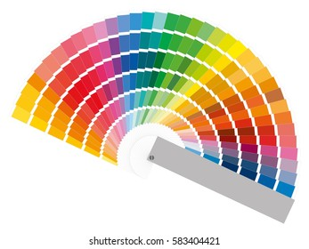 Color guide with palette of paint samples, catalog for tinting in vector