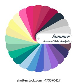 Color guide. Seasonal color analysis palette for summer type