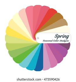 Color guide. Seasonal color analysis palette for spring type