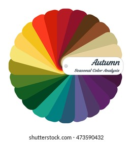 Color guide. Seasonal color analysis palette for autumn type