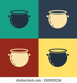 Color Halloween witch cauldron icon isolated on color background. Happy Halloween party. Vintage style drawing. Vector Illustration