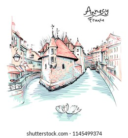 Color hand drawing, city view of the Palais de l'Isle and Thiou river in old city of Annecy, Venice of the Alps, France.
