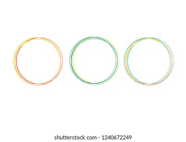 Color of Hand drawn circle line sketch set. Vector circular scribble doodle round circles for message note mark design element. Pencil or pen graffiti bubble or ball draft illustration.VECTOR EPS 10.