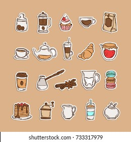 Color Hand drawn icon set coffee and tea