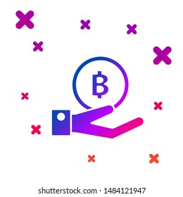 Color Hand holding Bitcoin icon isolated on white background. Blockchain technology, digital money market, cryptocoin wallet. Gradient random dynamic shapes. Vector Illustration