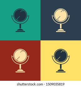 Color Hand mirror icon isolated on color background. Vintage style drawing. Vector Illustration