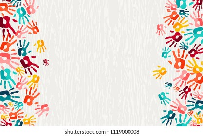 Color handprint background concept, human hand print illustration for kid education, school learning or diverse community help. EPS10 vector.