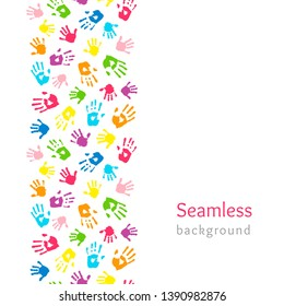 Color hands on white. Seamless vertical border made of handprints. Endless colorful background. Vector illustration