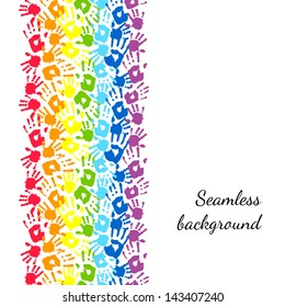 Color hands, rainbow seamless border background, vector
